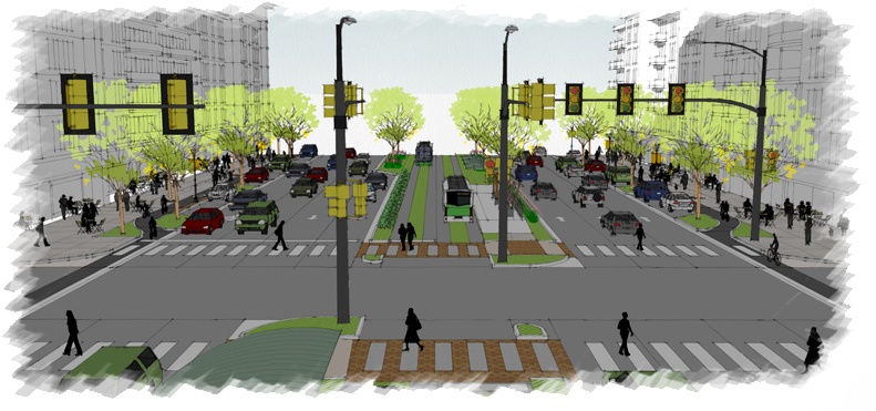 drawing of busy intersection with people walking